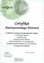 Certyfikat Autoryzowanego Partnera enova