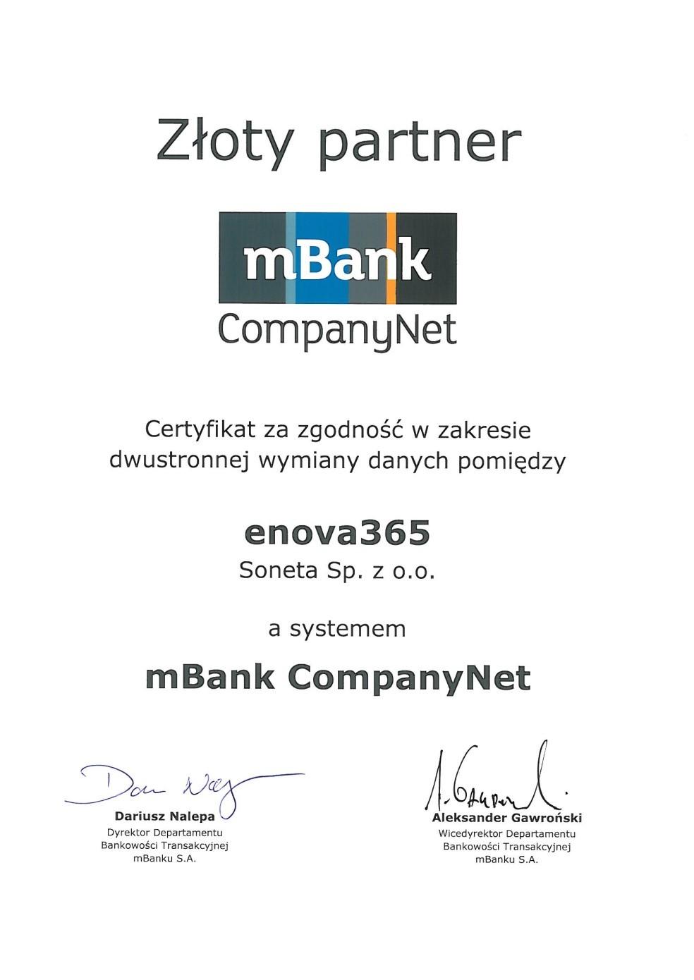 enova365 Złotym Partnerem mBank CompanyNet