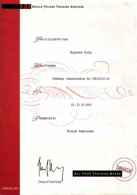 Oracle Database Administration - Bogusław Kulig