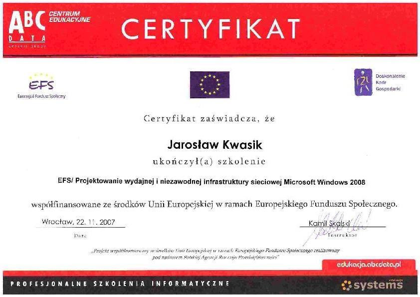 Infrastruktura sieciowa Windows 2008